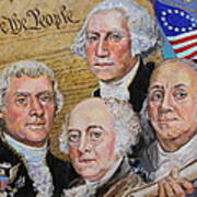 Founding Fathers Washington Jefferson Adams And Franklin Poster