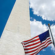 Washington Monument And Flag Poster