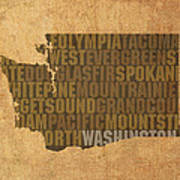 Washington Word Art State Map On Canvas Poster