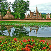 Wat Mahathat Reflection In 13th Century Sukhothai Historical Park-thailand Poster