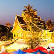 Wat Mai Temple And Night Market - Luang Prabang - Laos Poster
