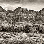 Watchman Trail In Sepia - Zion Poster