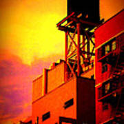 Water Tower With Orange Sunset Poster