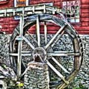 Water Wheel On Mill V2 Poster