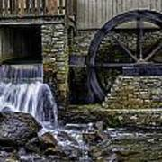 Water Wheel Plimouth Grist Mill At Jenney Pond Poster