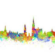 Watercolor Art Print Of The Skyline Of Antwerp In Belgium Poster