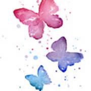 Watercolor Butterflies Poster