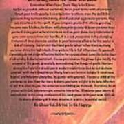 Watercolor Desiderata On Fuchsia Strokes Poster