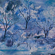 Watercolor - Icy Winter Landscape Poster