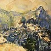 Watercolor Painting Machu Picchu Peru Poster