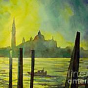 Watercolor Painting Of The Dome Of San Giorgio Maggiore Church I Poster