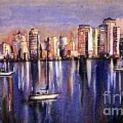 Watercolor Painting Of Vancouver Skyline Poster