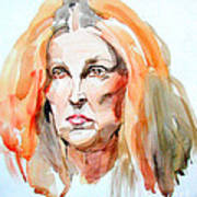 Watercolor Portrait Of A Mad Redhead Poster