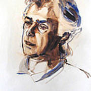 Watercolor Portrait Sketch Of A Man In Monochrome Poster