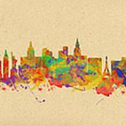 Watercolor Skyline Of Las Vegas Nevada  Usa Poster