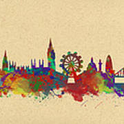Watercolor Skyline Of London Poster