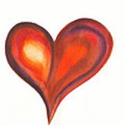 Watercolour Painting Of Colorful Abstract Heart Poster