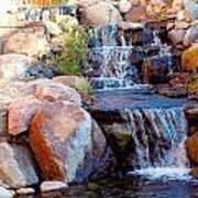 Waterfall Among Rocks Poster