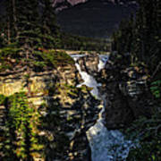 Waterfall And Mountain In Jasper Poster