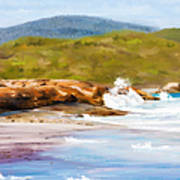 Waterfall Beach Denmark Painting Poster