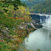 Waterfall In Forest, Cumberland Falls Poster