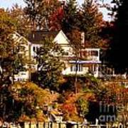 Waterfront Home In Fall Poster