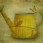 Watering Can With Texture Poster
