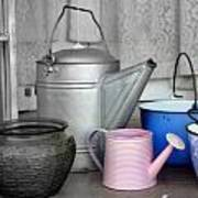 Watering Cans And Buckets Poster