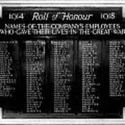 Waterloo Roll Of Honor 1914 1918 Poster