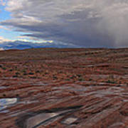 Waterpockets And Storm At The Valley Of Fire Poster