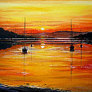 Watery Sunset At Bala Lake Poster