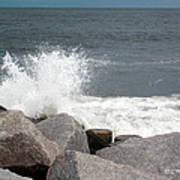 Wave Breaks On Rocks Poster by Tammy Wallace