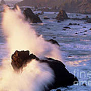 Wave Crashing On Sea Mount California Coast Poster