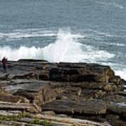 Wave Hitting Rock Poster
