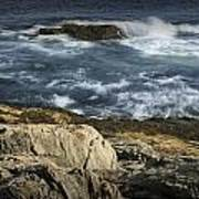 Waves Crashing Against The Shore In Acadia National Park Poster