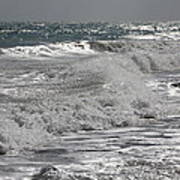 Waves Crashing At Sunset Poster
