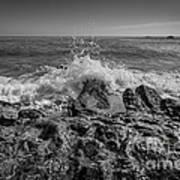 Waves Crashing Bw Poster
