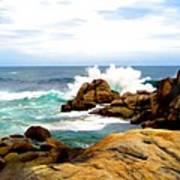 Waves Crashing On Shoreline Rocks Poster