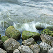 Waves On Mossy Rocks 2 Poster