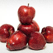 We Are Family - 6 Red Apples - Fresh Fruit - An Apple A Day - Orchard Poster