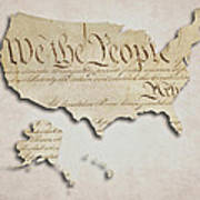 We The People - Us Constitution Map Poster