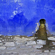 Weathered Blue Wall Of Old World Europe Poster