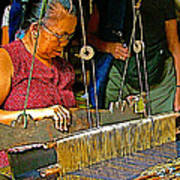 Weaver At Her Loom In Tachilek-burma Poster