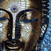 Web Of Dharma - Modern Blue Buddha Art Poster