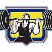 Weightlifter Lifting Heavy Barbell Retro Poster