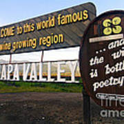 Welcome Sign To Napa Valley Poster