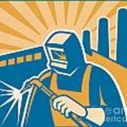 Welder Welding Factory Retro Woodcut Poster
