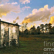 Old Well House And Golden Clouds Poster