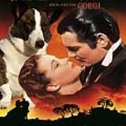 Welsh Corgi Cardigan Art Canvas Print - Gone With The Wind Movie Poster Poster