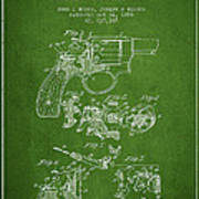 Wesson Hobbs Revolver Patent Drawing From 1899 - Green Poster